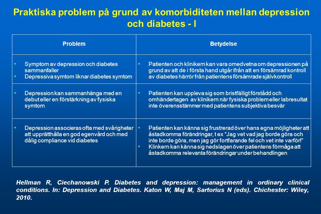 Praktiska problem på grund av komorbiditeten mellan depression och diabetes - I