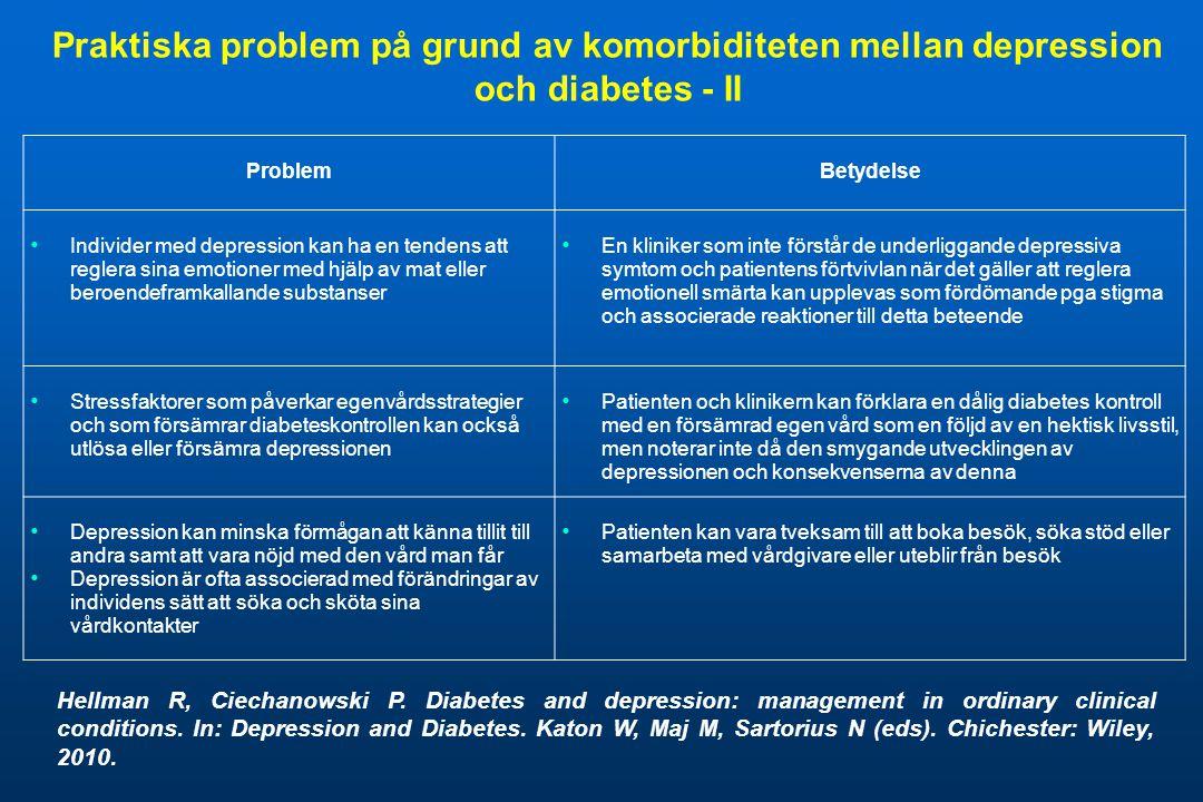 Praktiska problem på grund av komorbiditeten mellan depression och diabetes - II