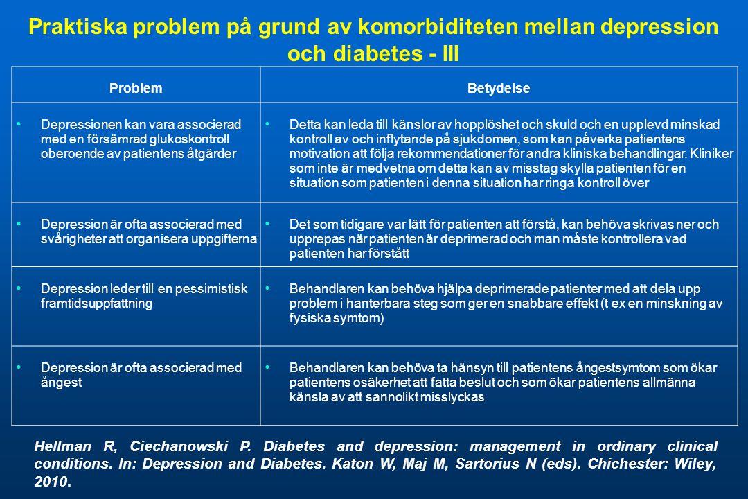 Praktiska problem på grund av komorbiditeten mellan depression och diabetes - III