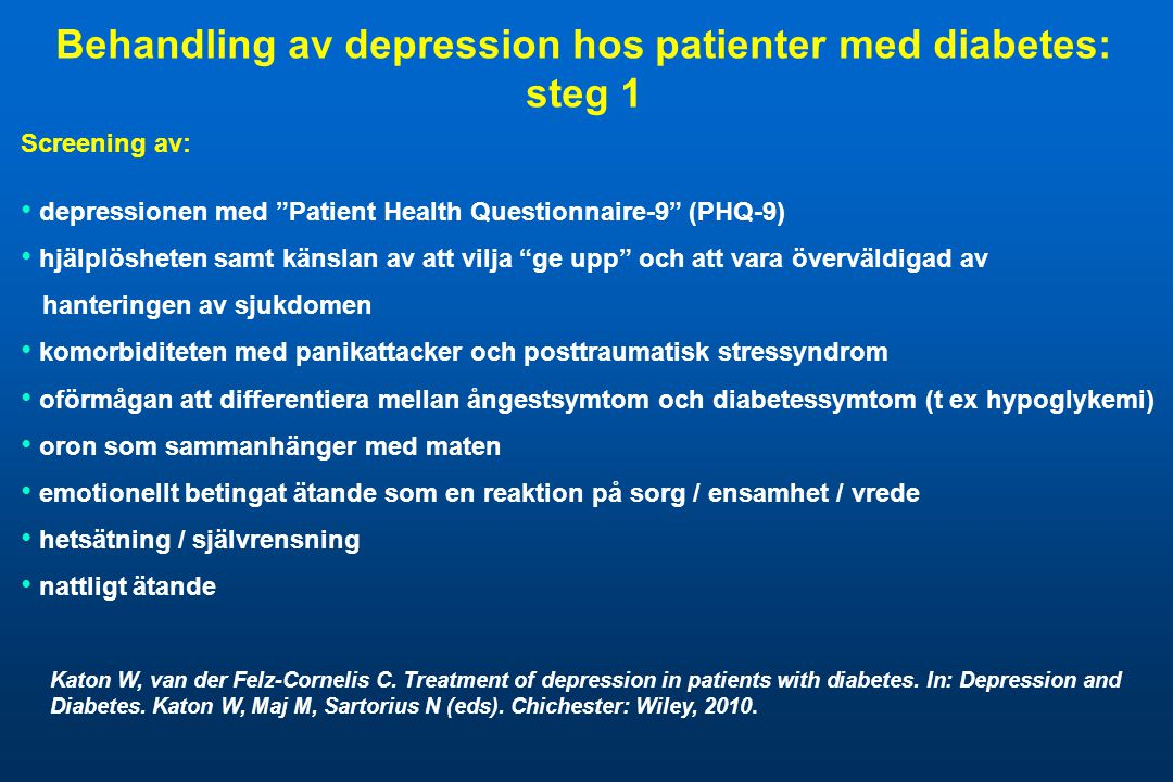 Behandling av depression hos patienter med diabetes: steg 1