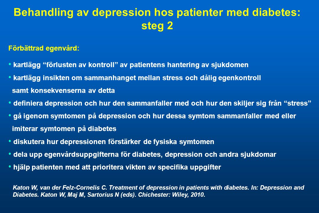 Behandling av depression hos patienter med diabetes: steg 2