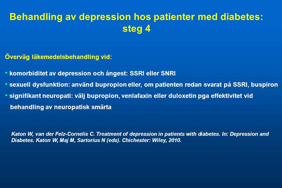 Behandling av depression hos patienter med diabetes: steg 4