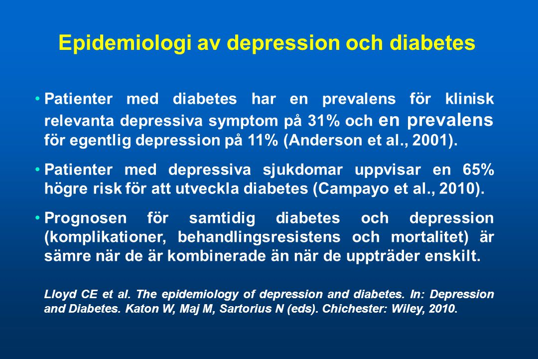 Epidemiologi av depression och diabetes