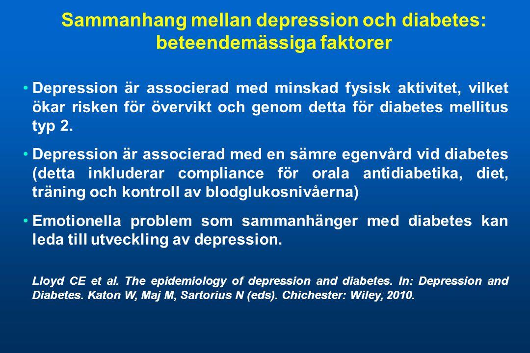 Sammanhang mellan depression och diabetes: beteendemässiga faktorer