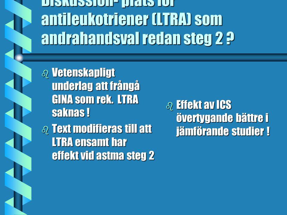 Diskussion- plats för antileukotriener (LTRA) som andrahandsval redan steg 2
