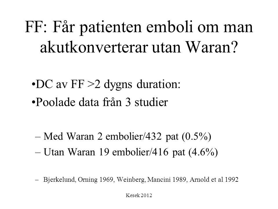 FF: Får patienten emboli om man akutkonverterar utan Waran