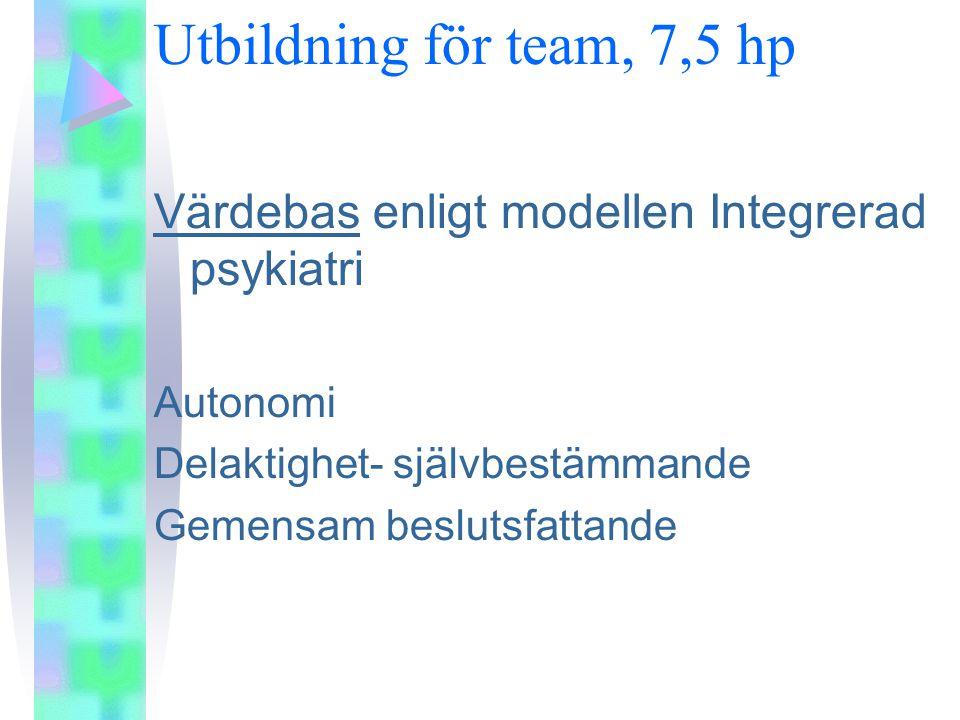 Utbildning för team, 7,5 hp Värdebas enligt modellen Integrerad psykiatri. Autonomi. Delaktighet- självbestämmande.