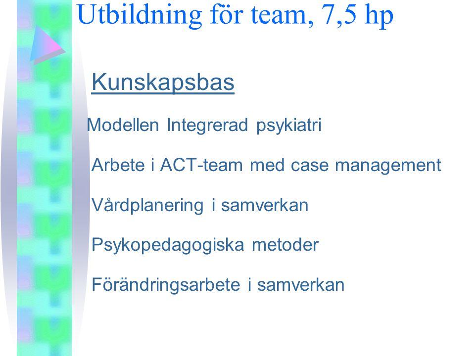 Utbildning för team, 7,5 hp Kunskapsbas Modellen Integrerad psykiatri