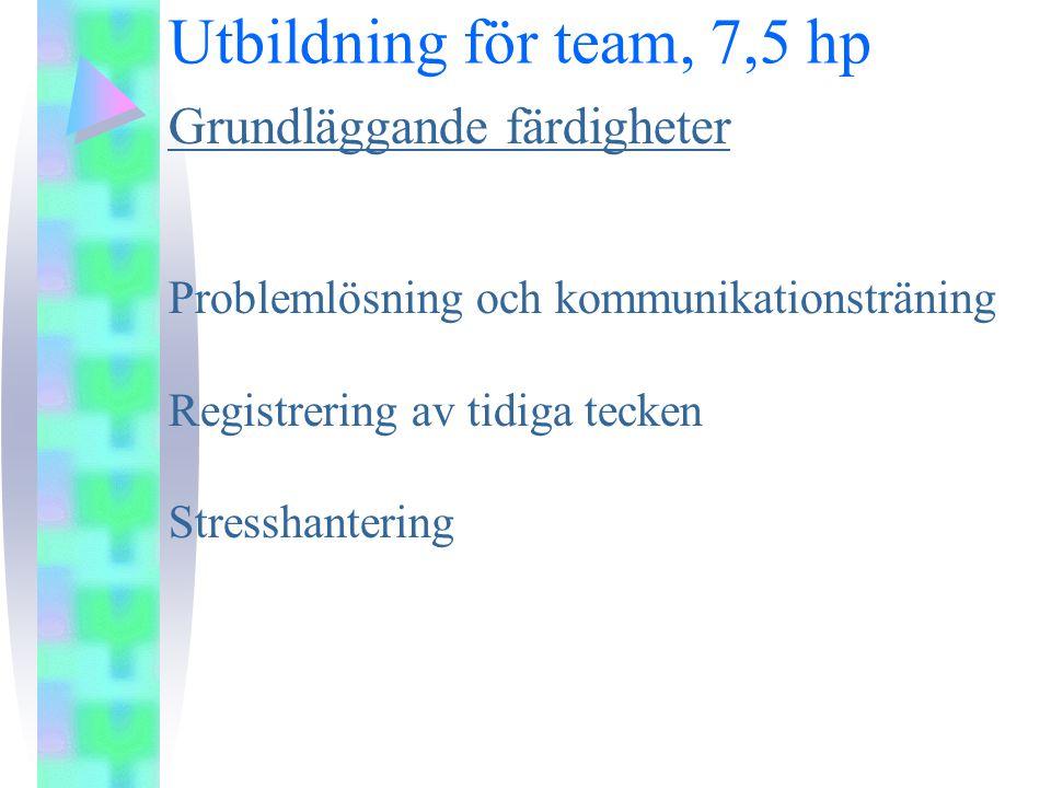 Utbildning för team, 7,5 hp Grundläggande färdigheter