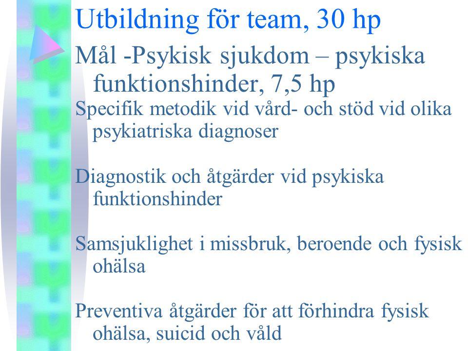 Utbildning för team, 30 hp Mål -Psykisk sjukdom – psykiska funktionshinder, 7,5 hp.