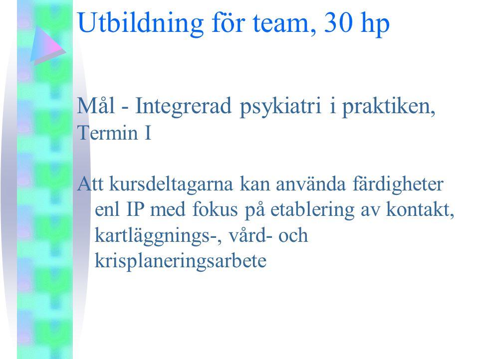 Utbildning för team, 30 hp Mål - Integrerad psykiatri i praktiken,
