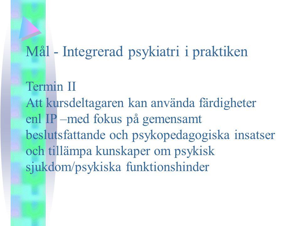Mål - Integrerad psykiatri i praktiken
