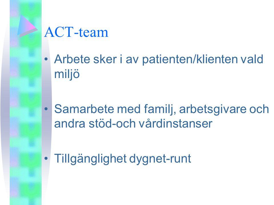 ACT-team Arbete sker i av patienten/klienten vald miljö