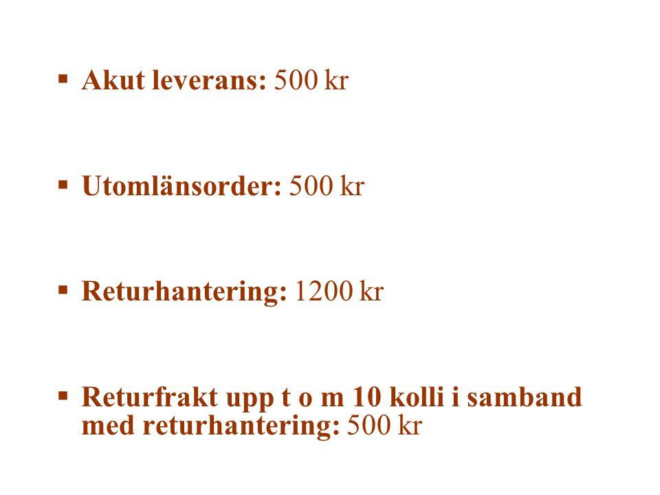 Akut leverans: 500 kr Utomlänsorder: 500 kr. Returhantering: 1200 kr.