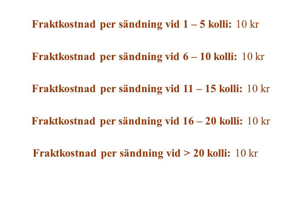 Fraktkostnad per sändning vid 1 – 5 kolli: 10 kr