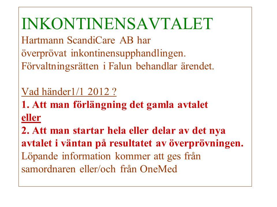 INKONTINENSAVTALET Hartmann ScandiCare AB har överprövat inkontinensupphandlingen.