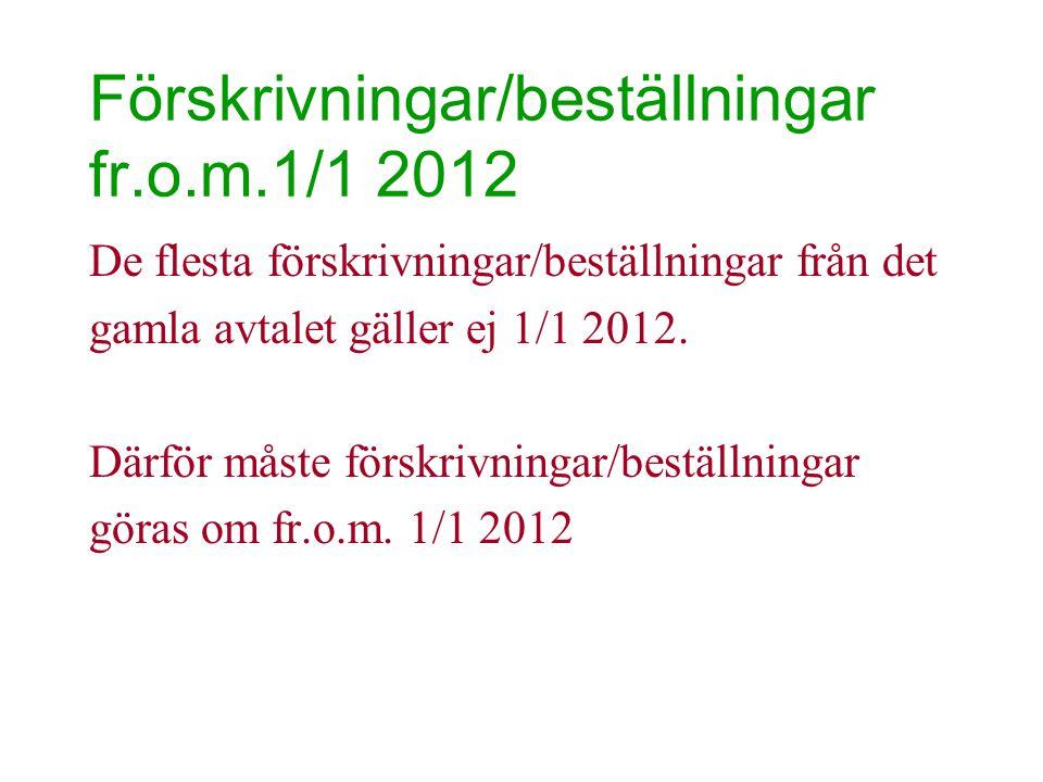 Förskrivningar/beställningar fr.o.m.1/1 2012