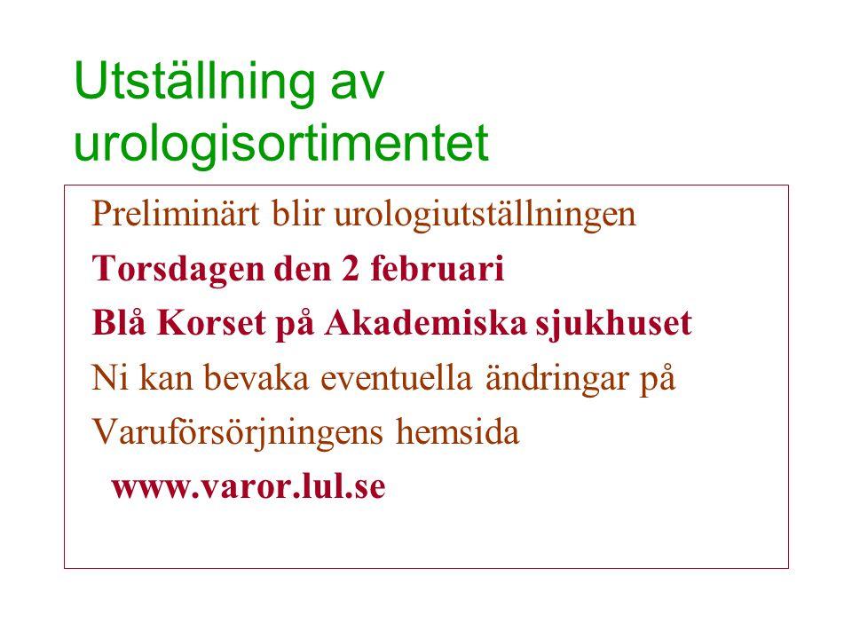 Utställning av urologisortimentet
