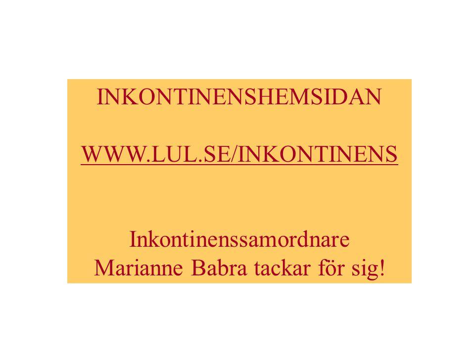 Inkontinenssamordnare Marianne Babra tackar för sig!