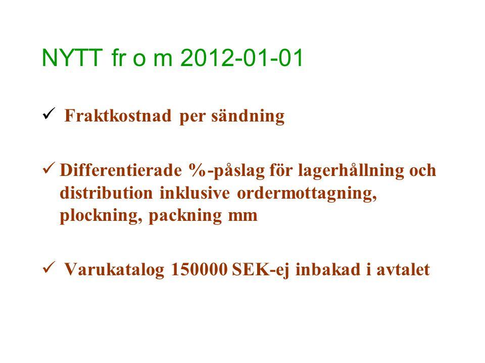 NYTT fr o m 2012-01-01 Fraktkostnad per sändning