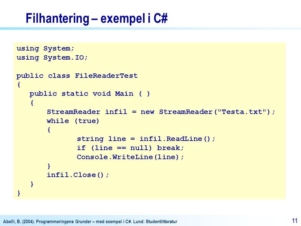 Filhantering – exempel i C#