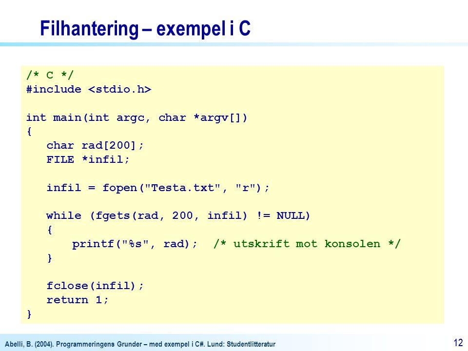 Filhantering – exempel i C