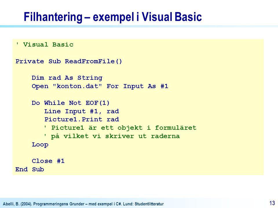 Filhantering – exempel i Visual Basic