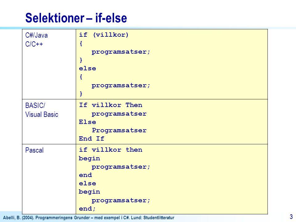 Selektioner – if-else C#/Java C/C++ BASIC/ Visual Basic Pascal