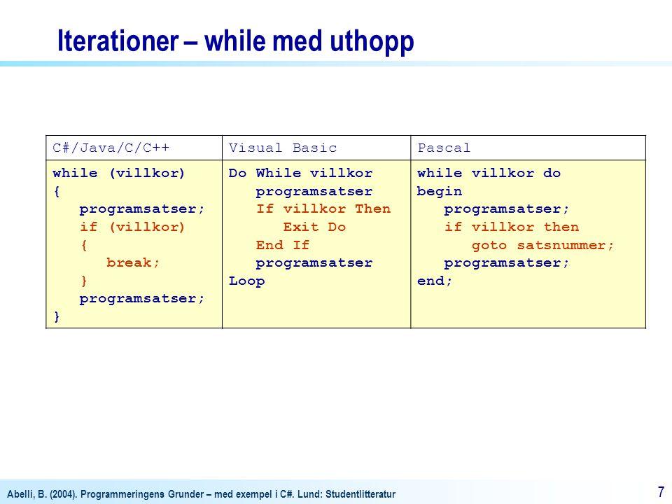 Iterationer – while med uthopp