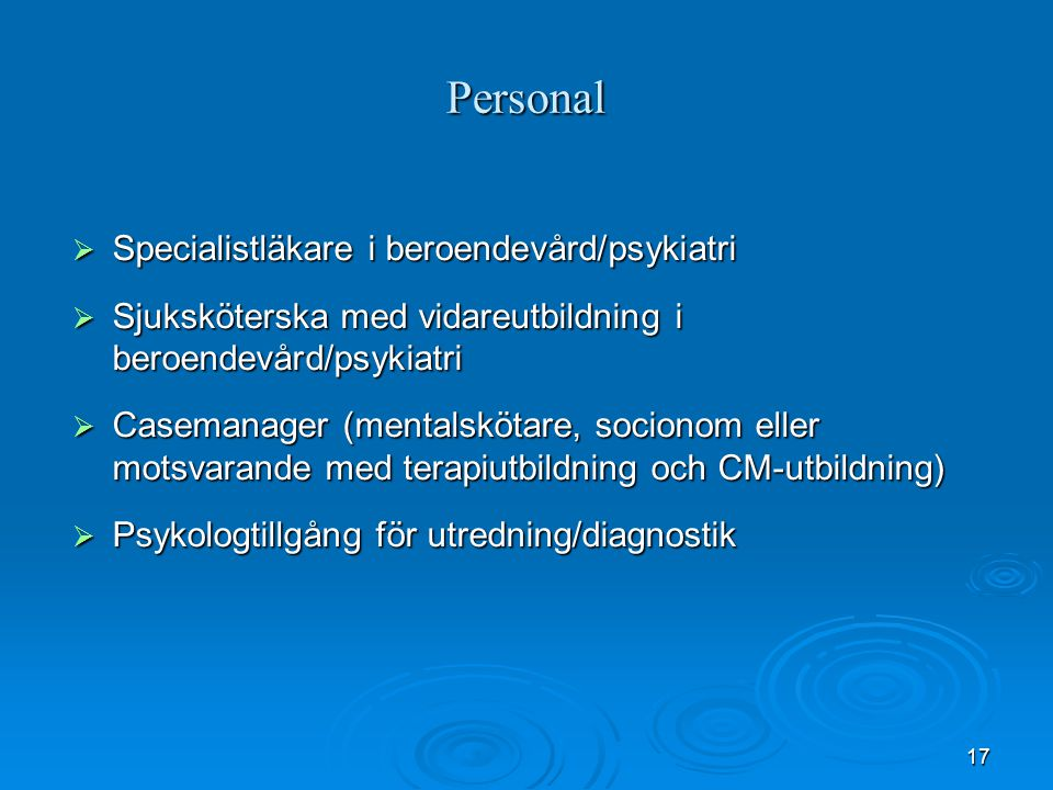 Personal Specialistläkare i beroendevård/psykiatri