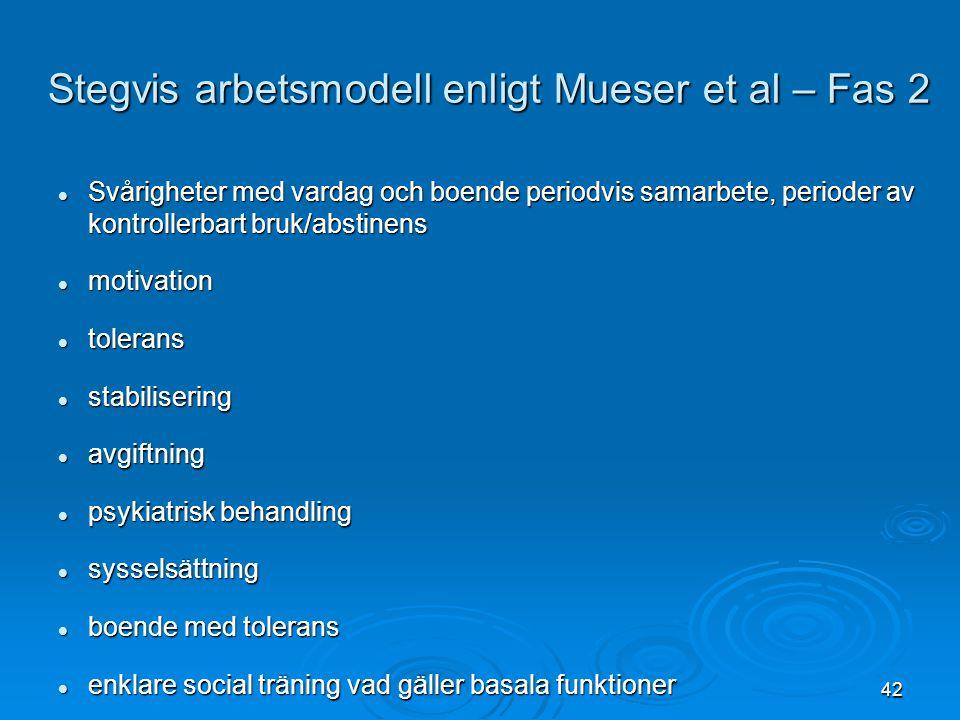 Stegvis arbetsmodell enligt Mueser et al – Fas 2