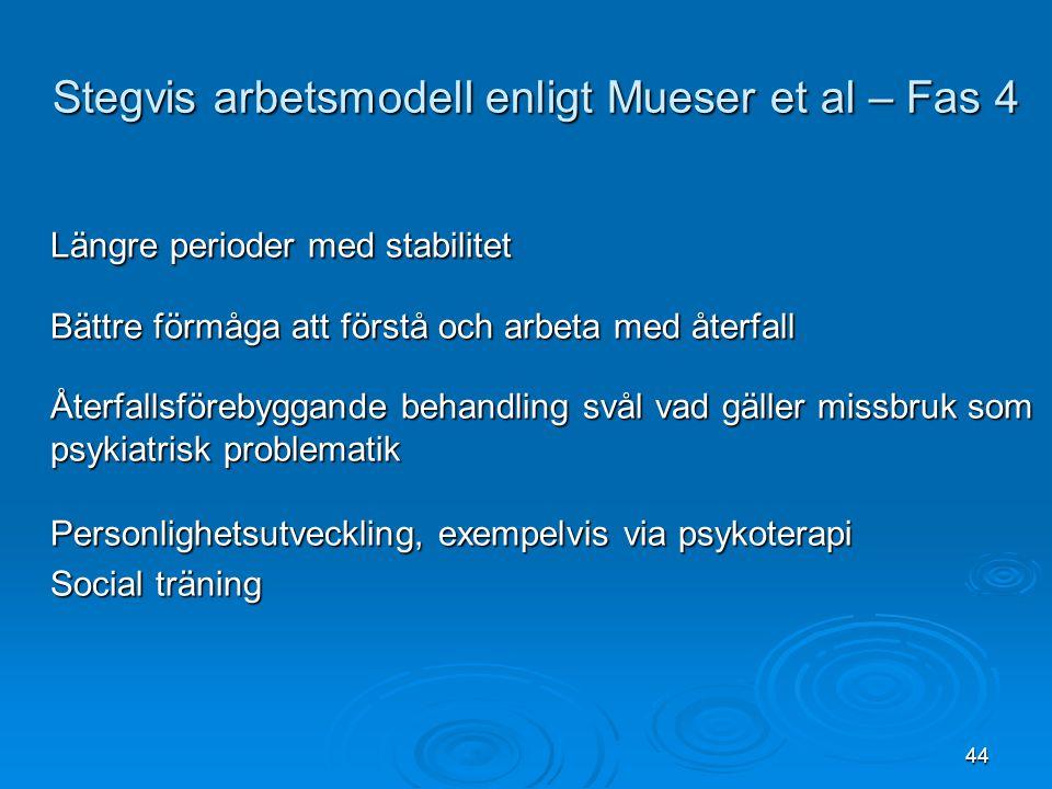 Stegvis arbetsmodell enligt Mueser et al – Fas 4
