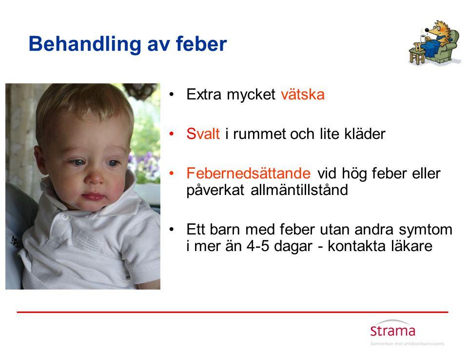 Behandling av feber Extra mycket vätska Svalt i rummet och lite kläder