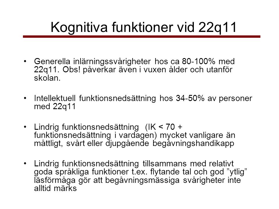 Kognitiva funktioner vid 22q11