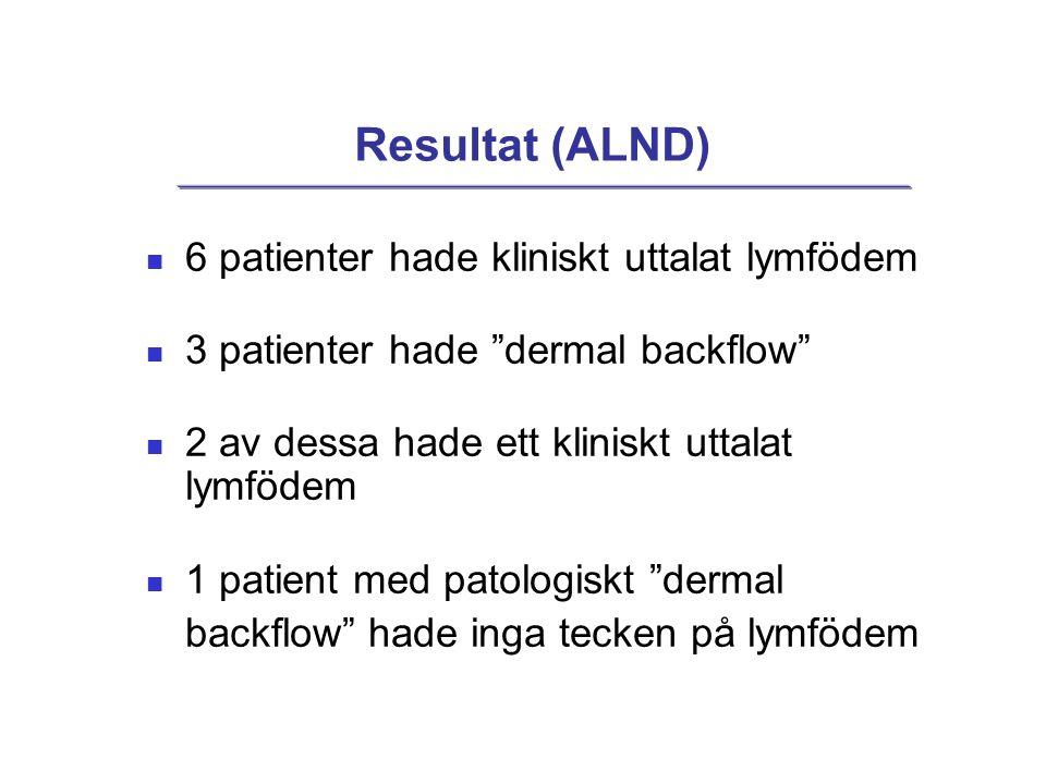 Resultat (ALND) 6 patienter hade kliniskt uttalat lymfödem