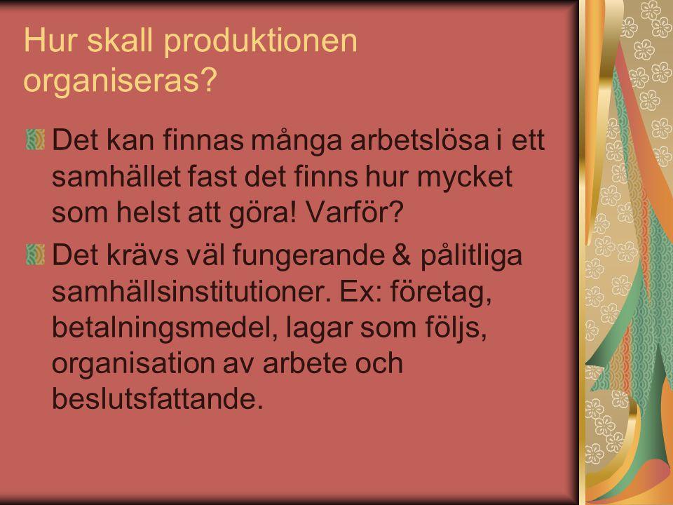 Hur skall produktionen organiseras