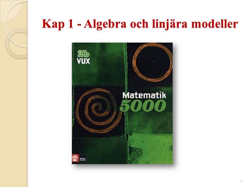 Kap 1 - Algebra och linjära modeller