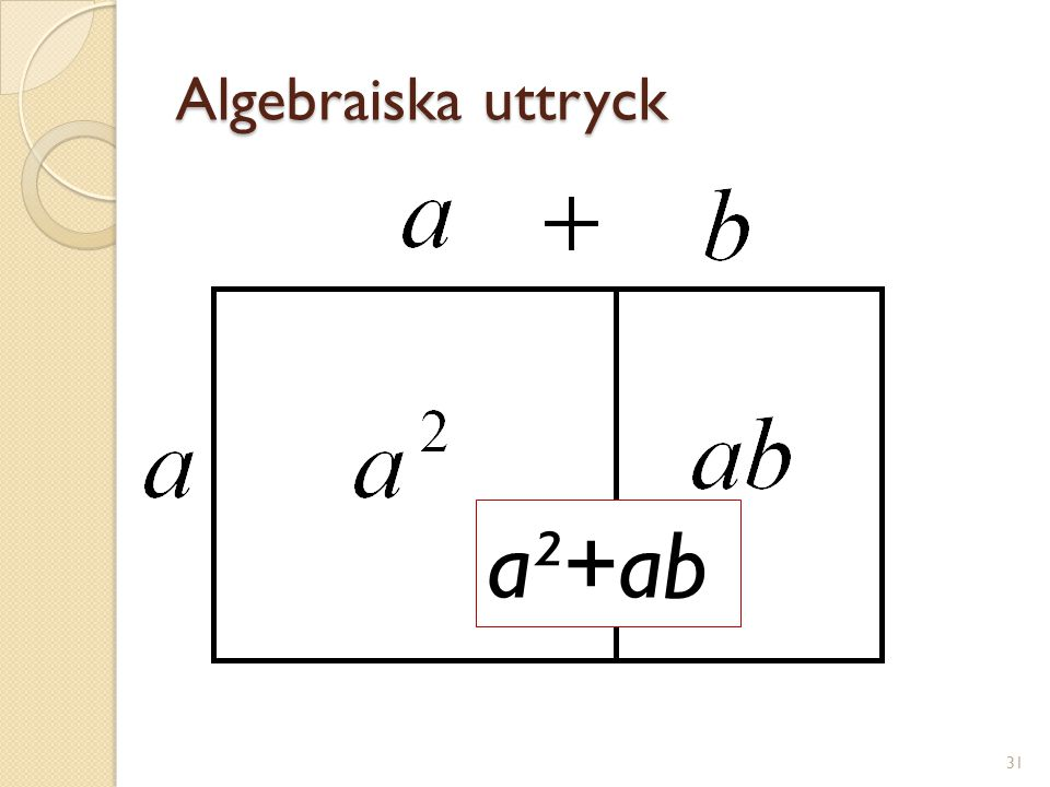 Algebraiska uttryck a²+ab