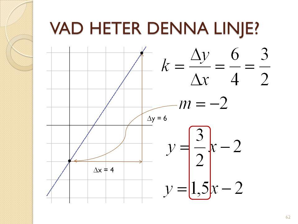 VAD HETER DENNA LINJE • ∆y = 6 • ∆x = 4