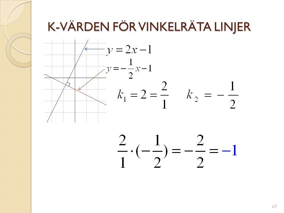 K-VÄRDEN FÖR VINKELRÄTA LINJER