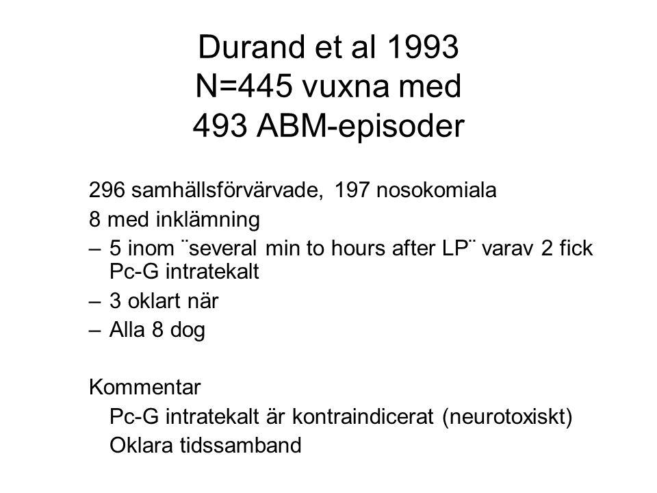 Durand et al 1993 N=445 vuxna med 493 ABM-episoder