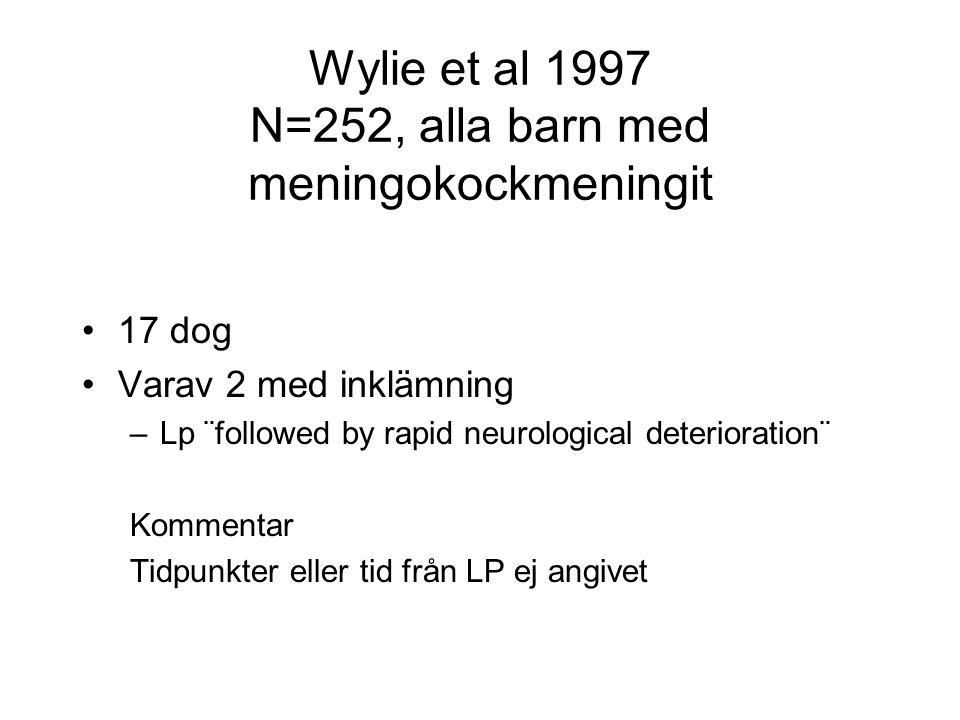 Wylie et al 1997 N=252, alla barn med meningokockmeningit