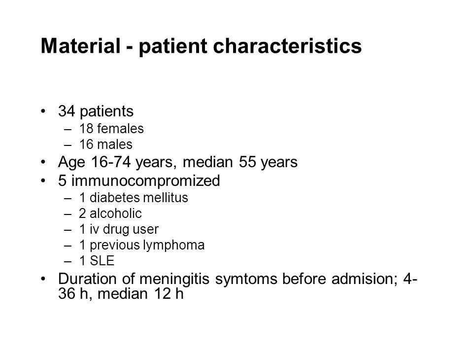 Material - patient characteristics