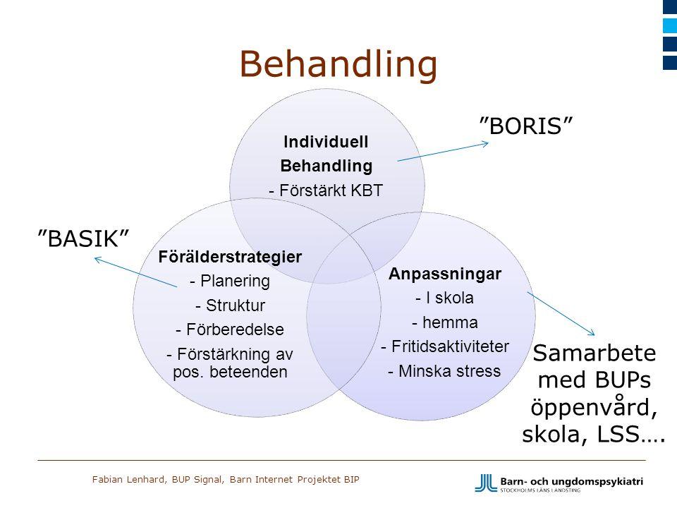 Behandling BORIS BASIK Samarbete med BUPs öppenvård, skola, LSS….