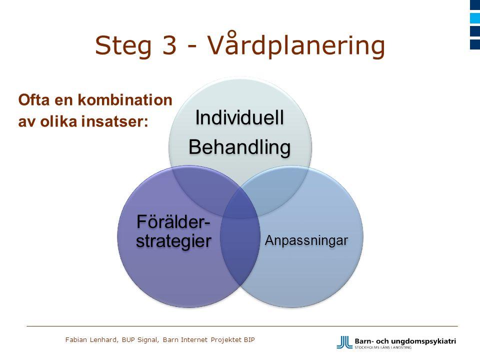 Steg 3 - Vårdplanering Förälder- strategier Ofta en kombination