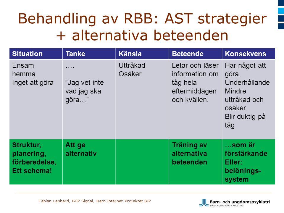 Behandling av RBB: AST strategier + alternativa beteenden