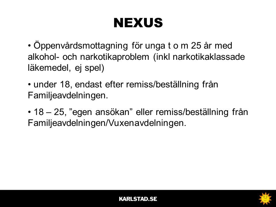 NEXUS Öppenvårdsmottagning för unga t o m 25 år med alkohol- och narkotikaproblem (inkl narkotikaklassade läkemedel, ej spel)