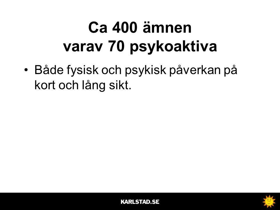 Ca 400 ämnen varav 70 psykoaktiva