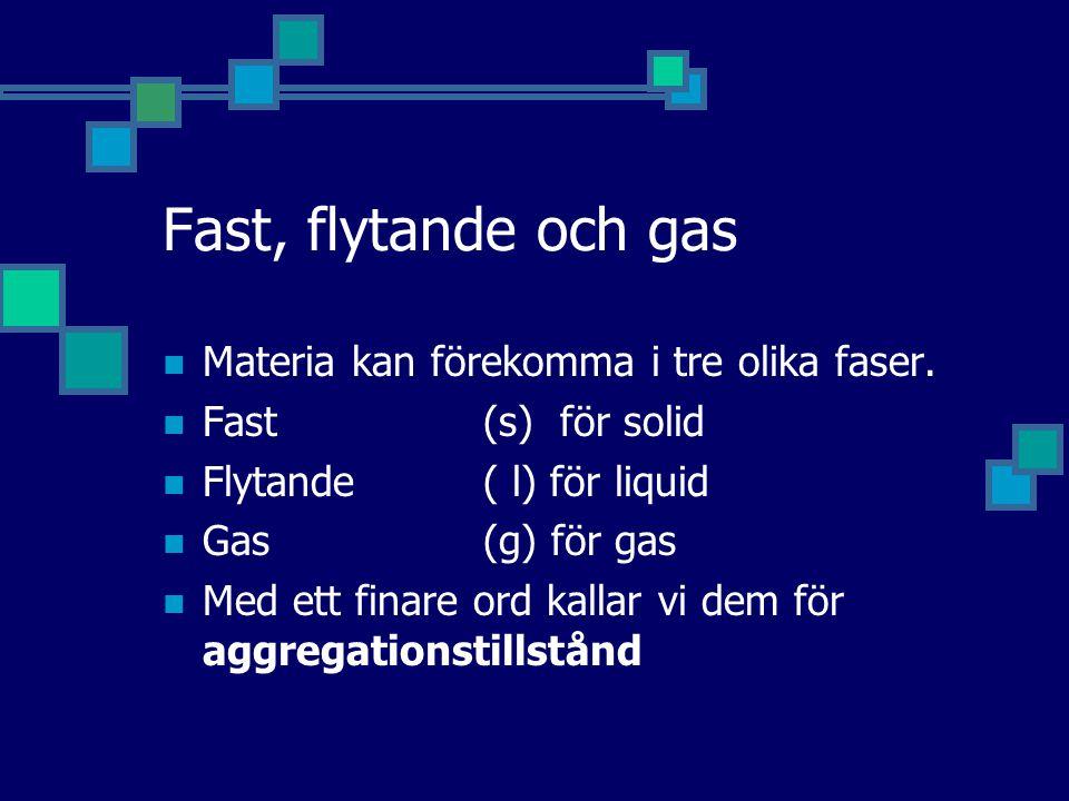 Fast, flytande och gas Materia kan förekomma i tre olika faser.