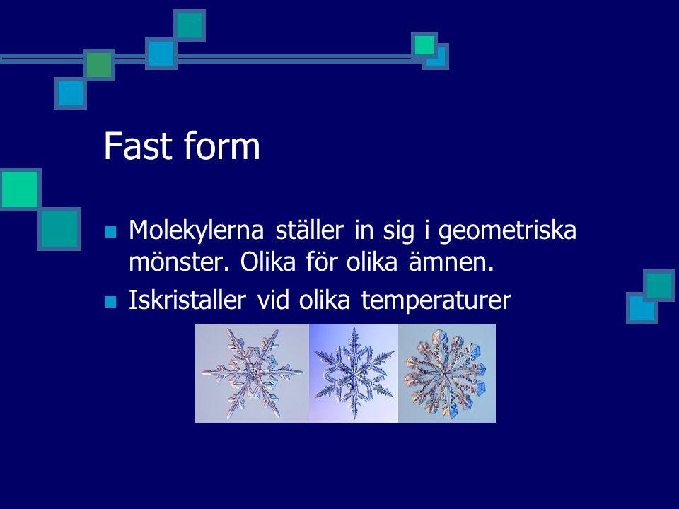 Fast form Molekylerna ställer in sig i geometriska mönster.